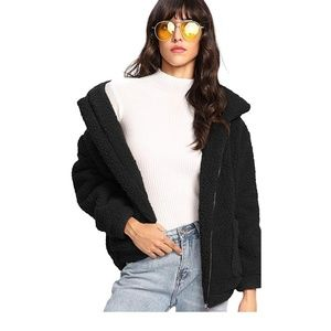 JASPER Black Oversized Fleece Jacket